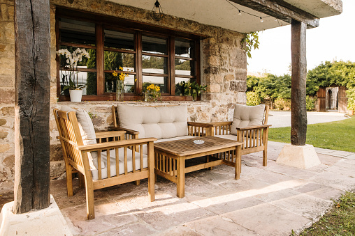 House porch with garden furniture