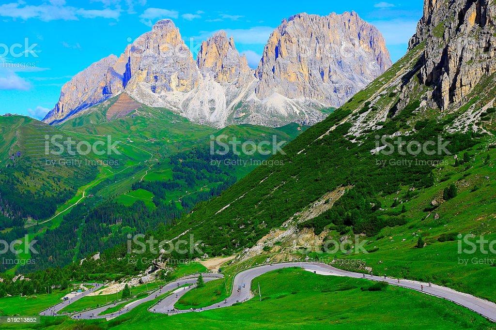 Pordoi, Sassolungo mountain bike road pass, Dolomites, Italian Tirol alps stock photo