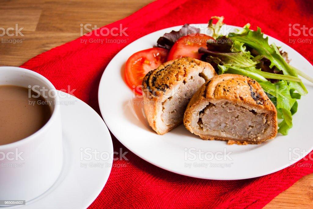 Pork and bramley apple pie with salad and hot drink zbiór zdjęć royalty-free