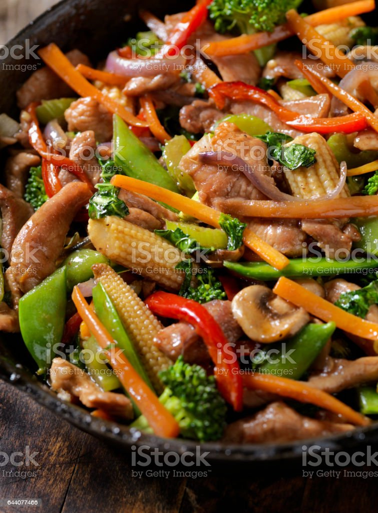 Pork and Vegetable Stir Fry stock photo