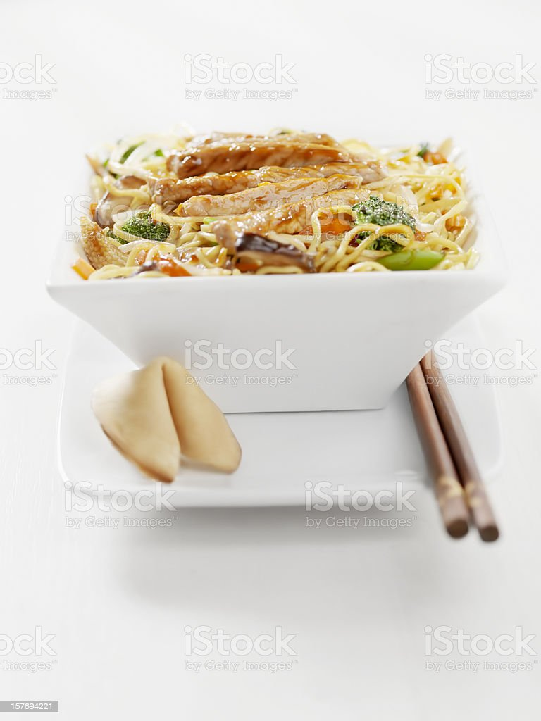 Pork and Vegetable Stirfry with Noodles stock photo