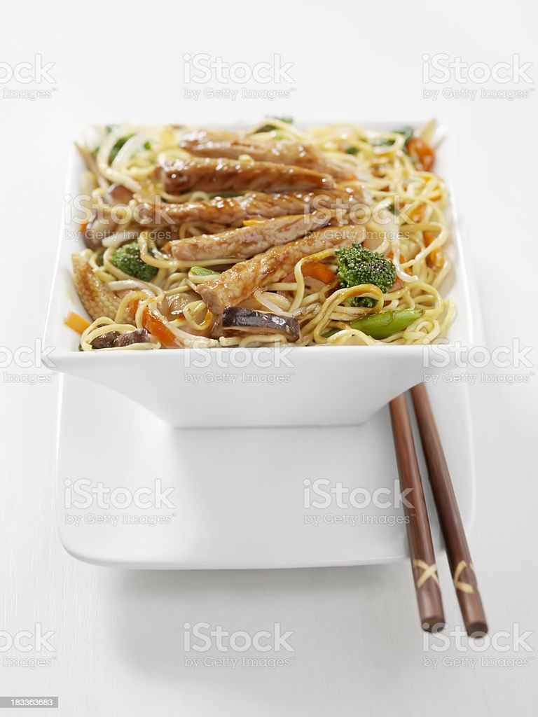 Pork and Vegetable Stirfry with Noodles royalty-free stock photo