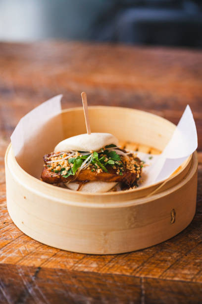 Pork Belly Bao Bun stock photo