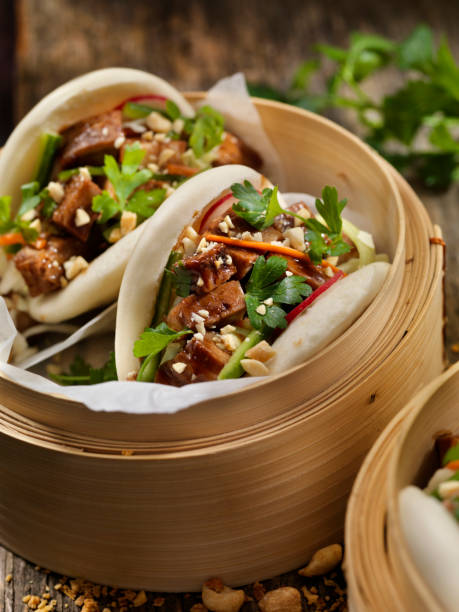 Pork Belly Bao Buns stock photo