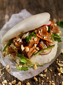 Pork Belly Bao Buns with Carrots, Coleslaw and Cilantro with a Savory Sauce