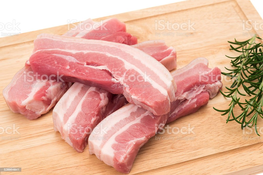 Pork belly slices stock photo