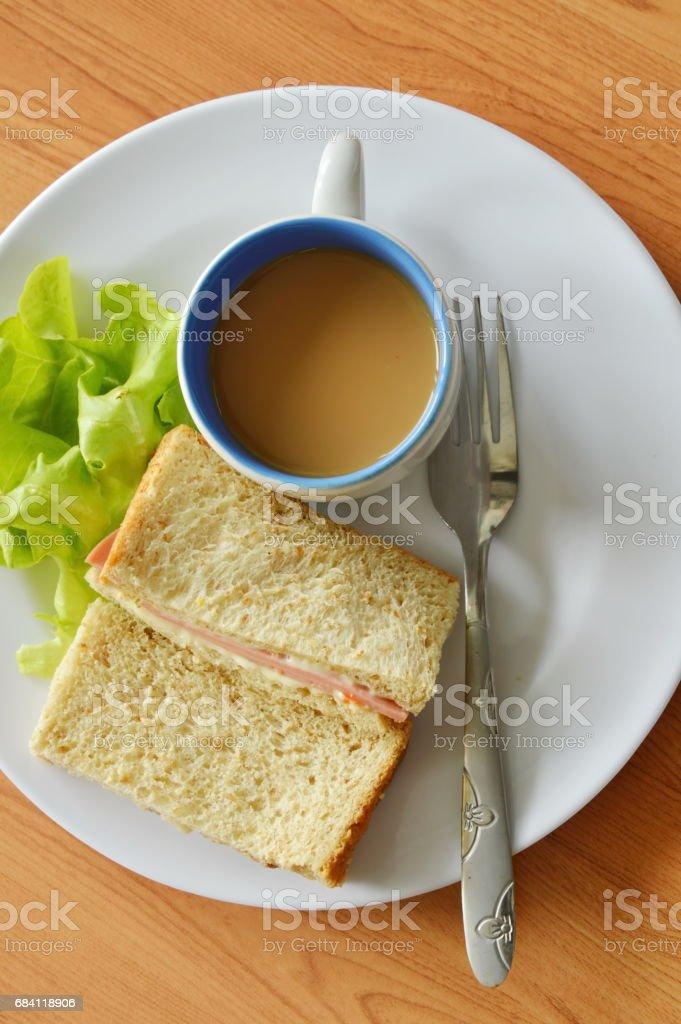 pork bologna whole wheat sandwich with fresh green oak and coffee zbiór zdjęć royalty-free