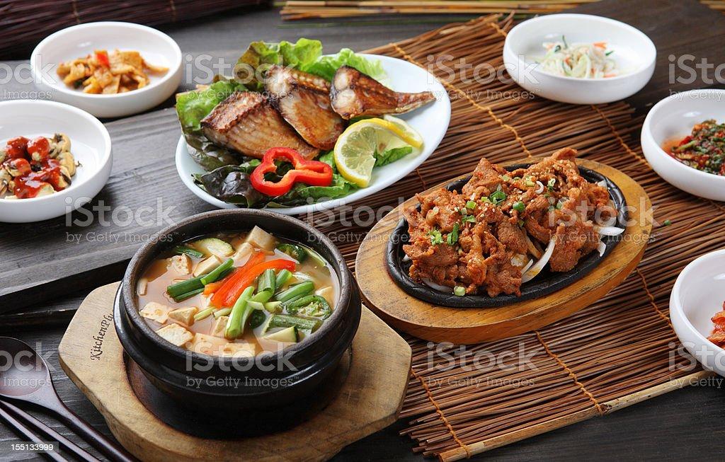 Pork bulgogi & Bean Paste Soup stock photo