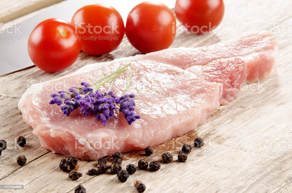 pork chop with lavender royalty-free stock photo
