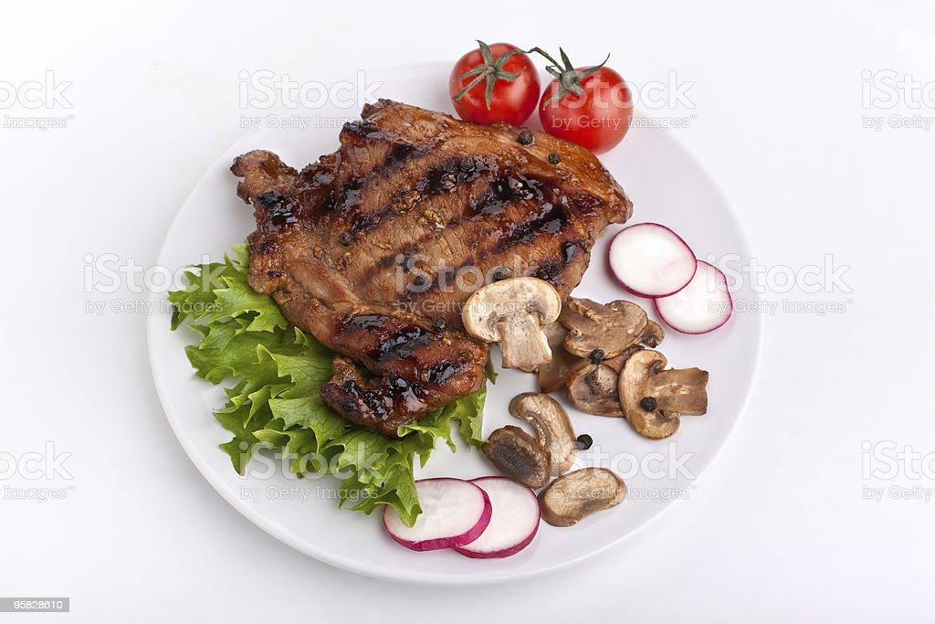 pork chop with mushrooms royalty-free stock photo