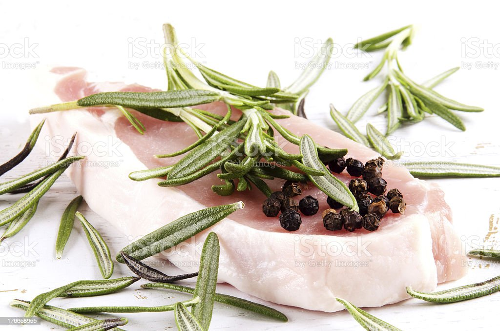pork chop with rosemary royalty-free stock photo