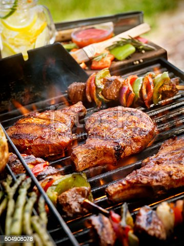 Pork Chops with Kabobs on the BBQ -Photographed on Hasselblad H3D2-39mb Camera