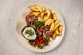 Pork chops with roasted potatoes