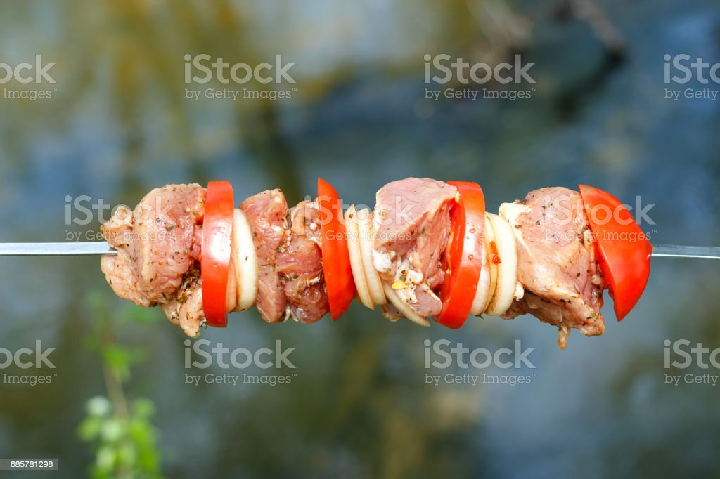 Pork cooked on the grill. Meat cooked on the coals. Pork being prepared fire. Pork kebab. Meat with onions and vegetables on the fire. Fresh meat. Skewers on the fire in the forest. royalty-free stock photo