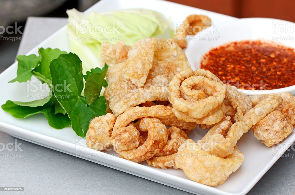 Pork crackling appetizers. stock photo