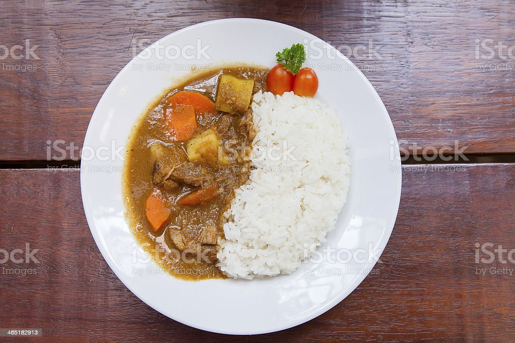 Pork Curry Rice on white plate stock photo