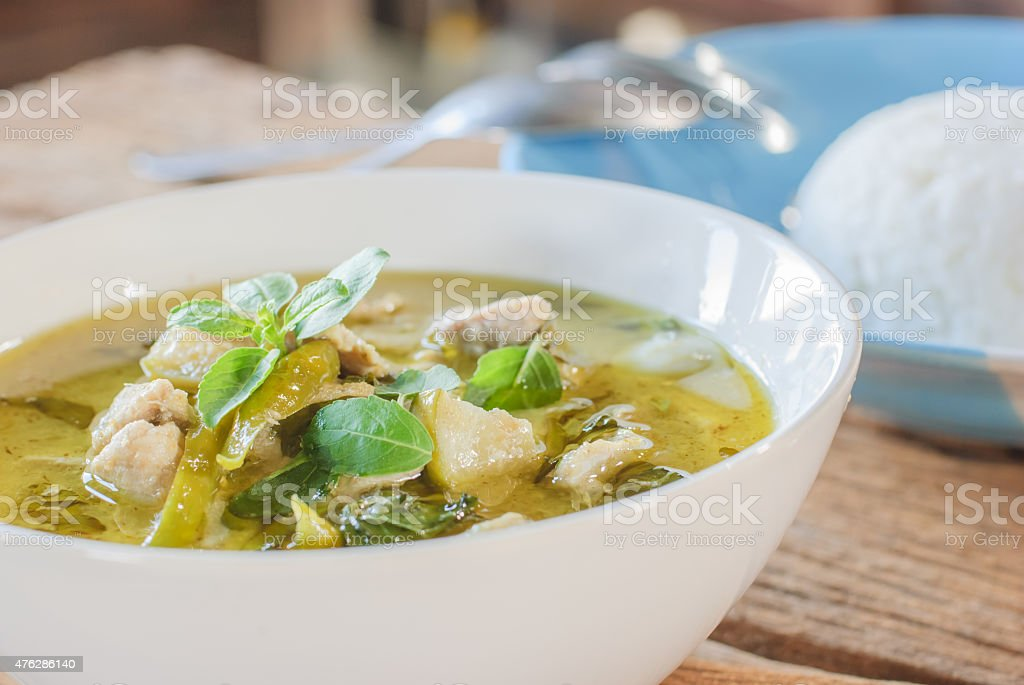 pork green curry stock photo