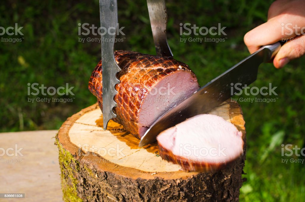 Pork ham baked on bbq stock photo