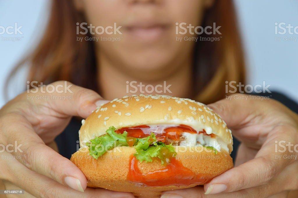 pork hamburger dressing ketchup on woman hand foto stock royalty-free