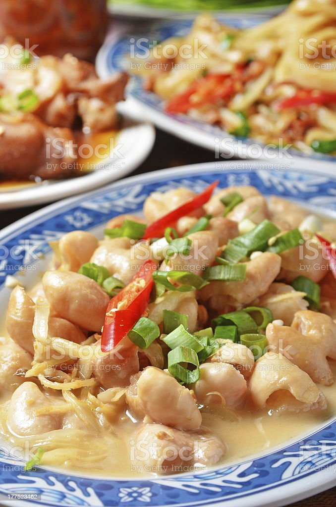 Pork intestines with ginger stock photo