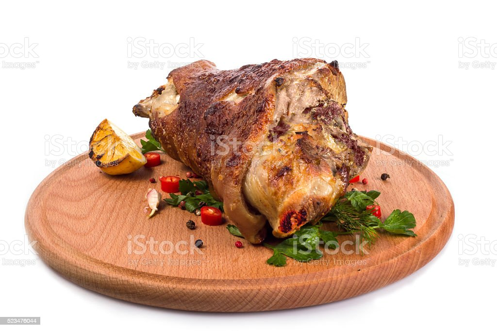 pork knuckle on a white background stock photo
