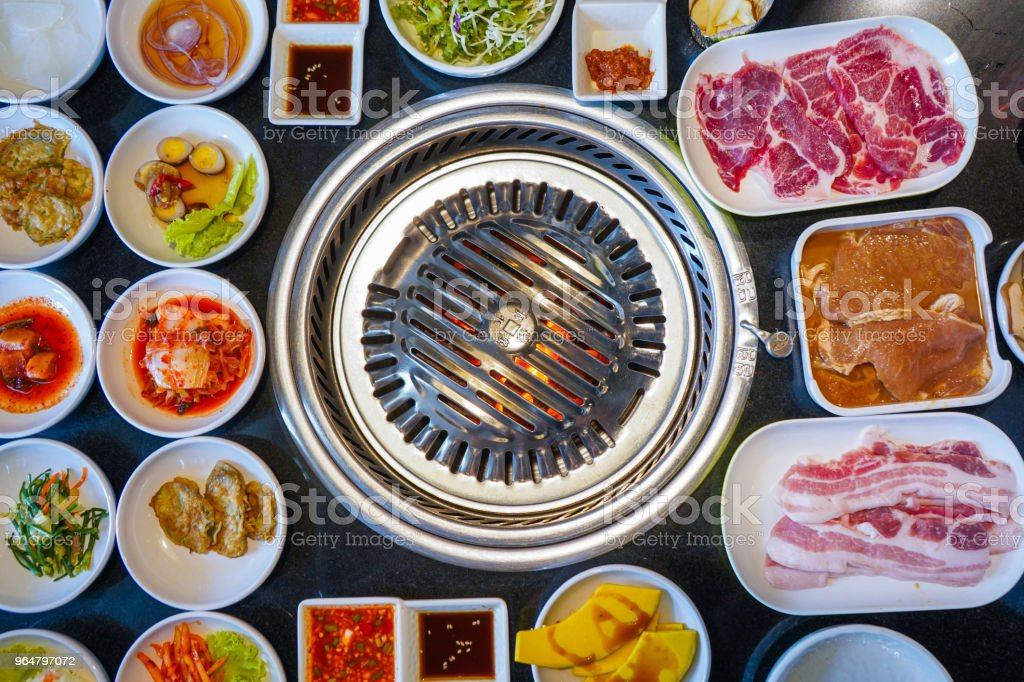 pork korean style and vegetable for barbeque royalty-free stock photo