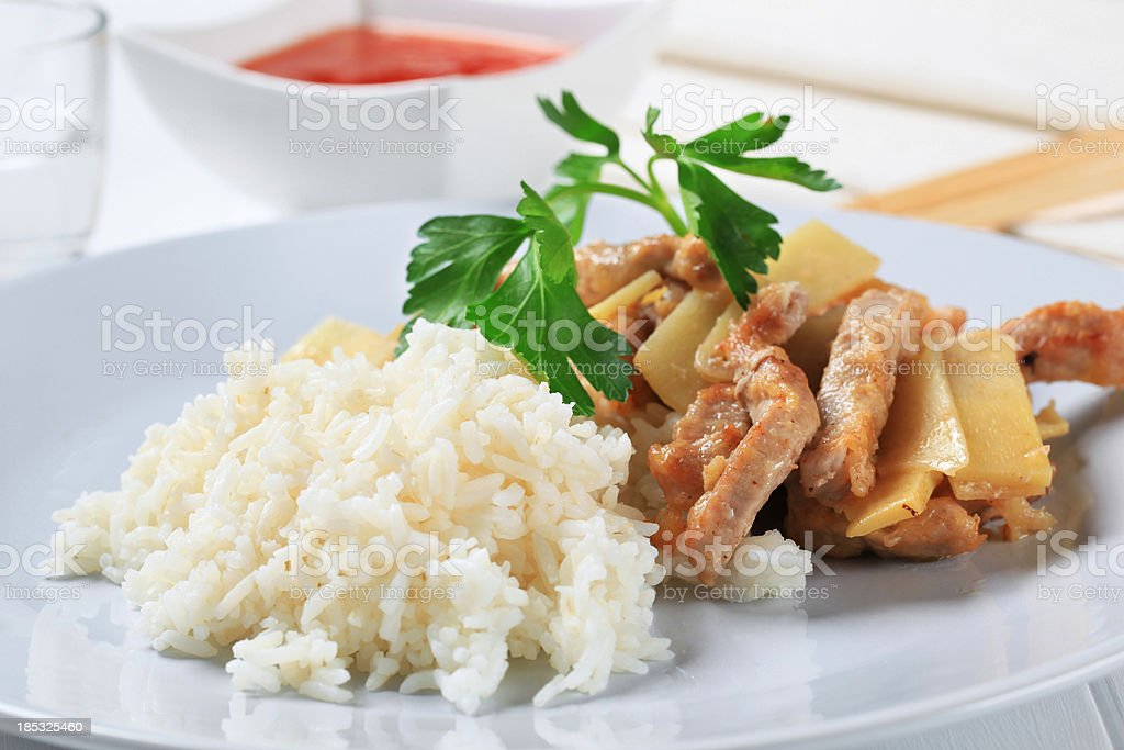 Pork meat and rice stock photo