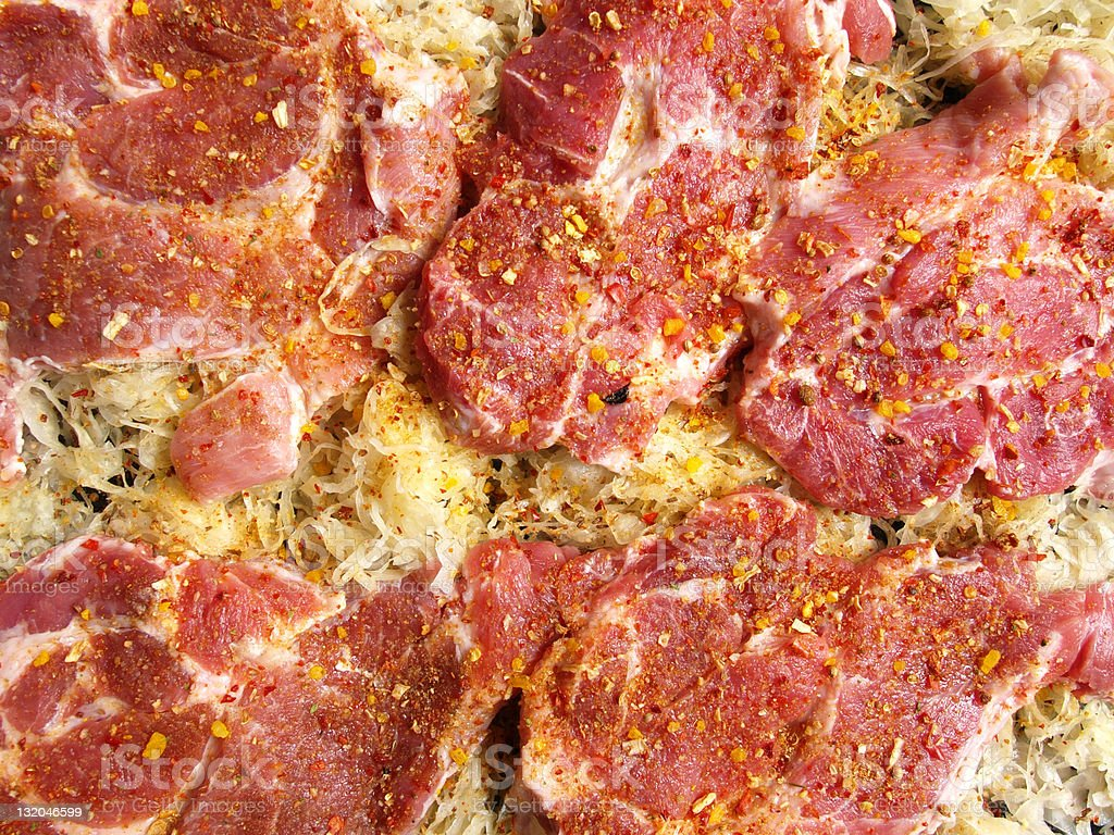 Pork meat and sauerkraut royalty-free stock photo