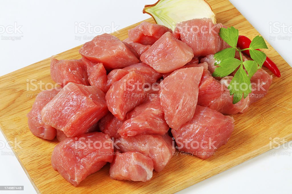 Pork meat for goulash royalty-free stock photo