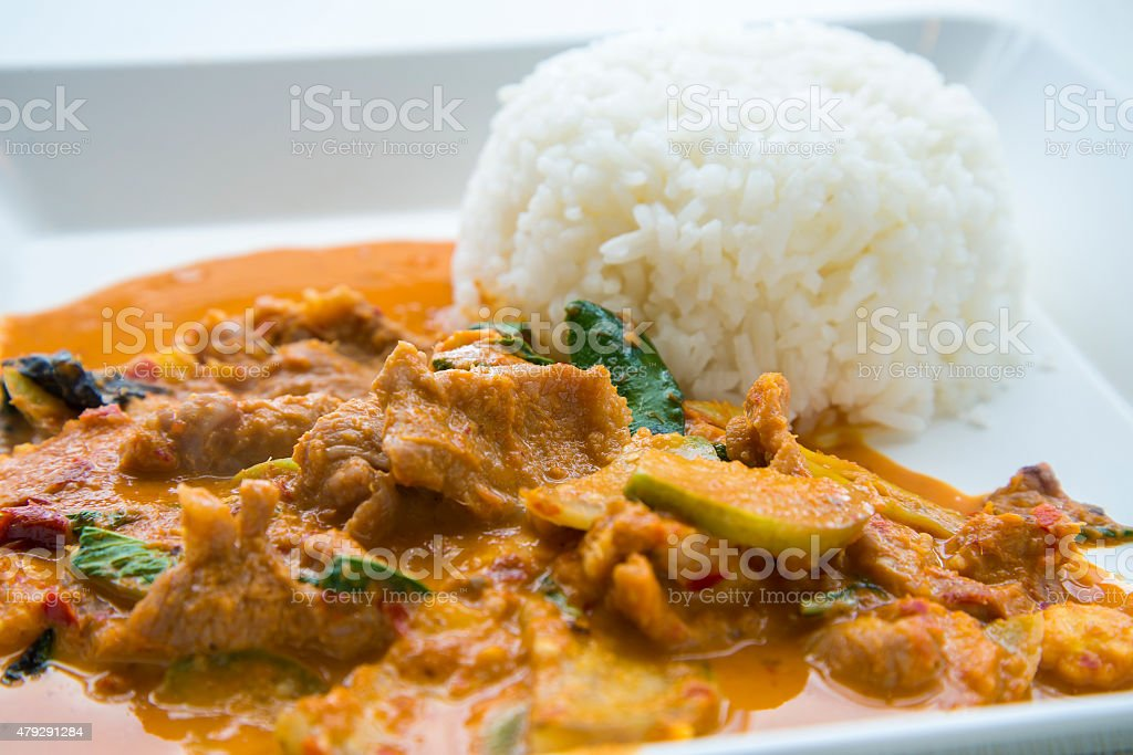 Pork panang curry with rice stock photo