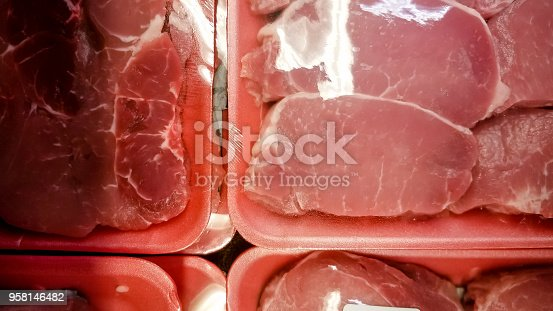 A variety of cuts of pork at the supermarket