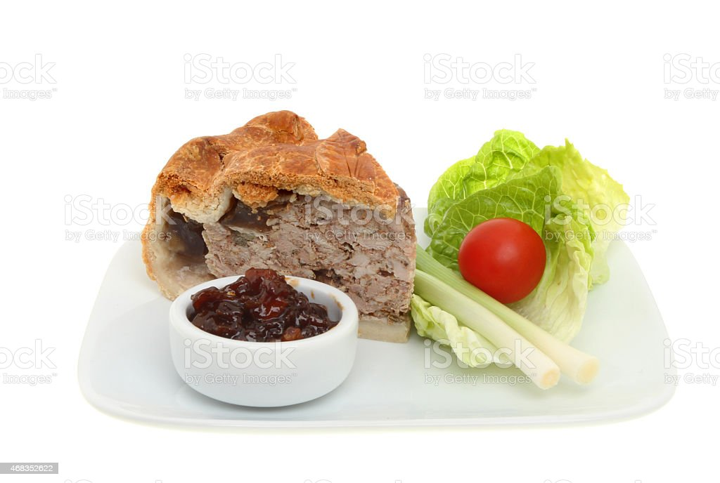 Pork pie and salad royalty-free stock photo