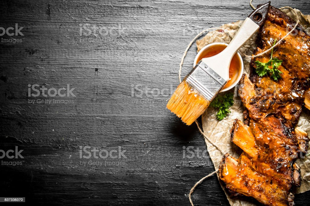 Pork ribs grilled stock photo