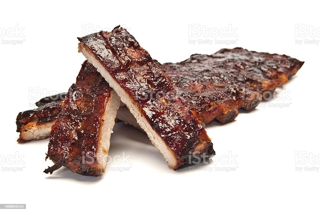 Pork ribs smothered in barbecue sauce stock photo