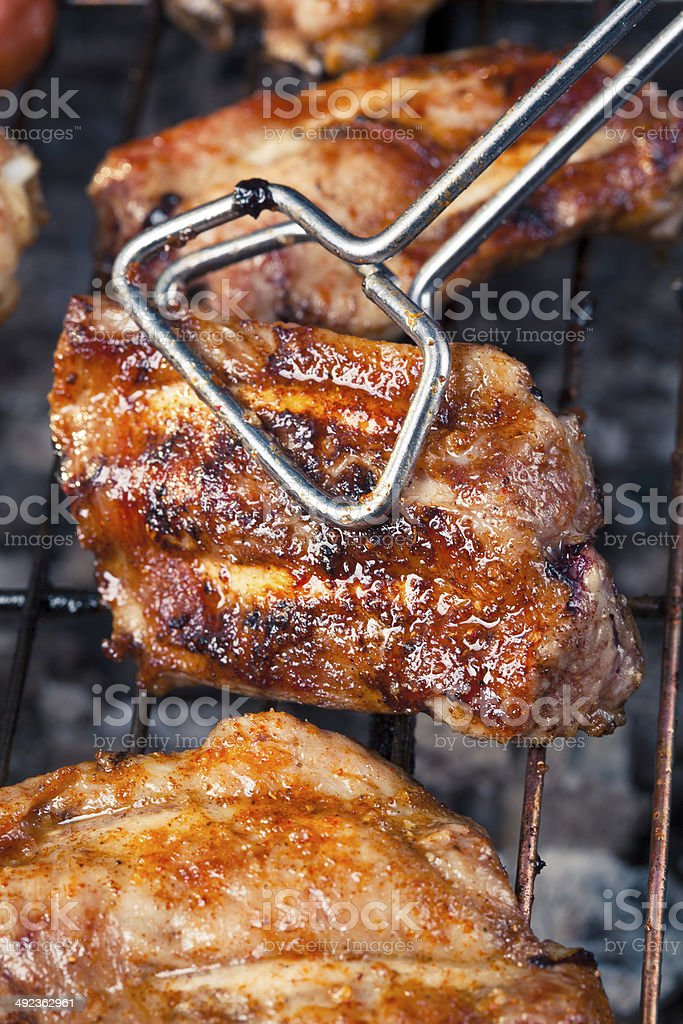 pork ribs with bbq stock photo