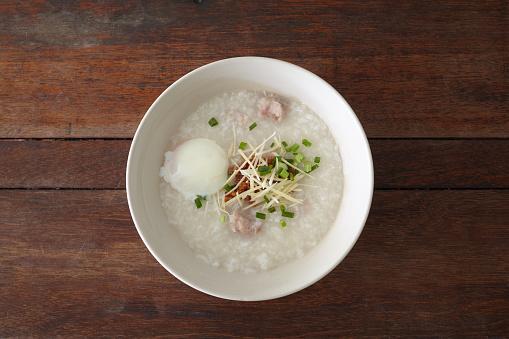 istock Pork rice porridge with egg. 662948884