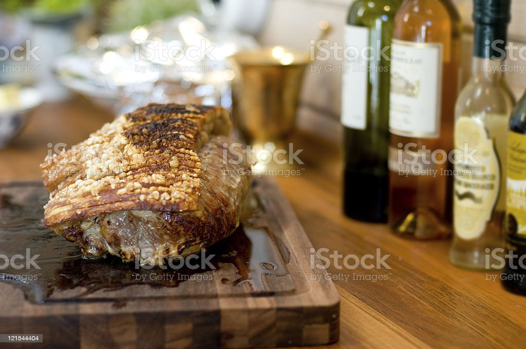 Pork roast is ready to be served stock photo