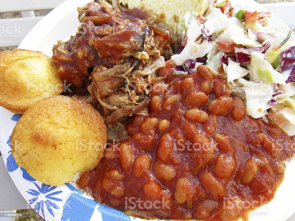 Pork Sandwich With Beans, Muffins and Slaw royalty-free stock photo