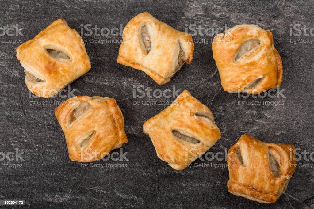 Pork Sausage Rolls Savoury Snacks stock photo