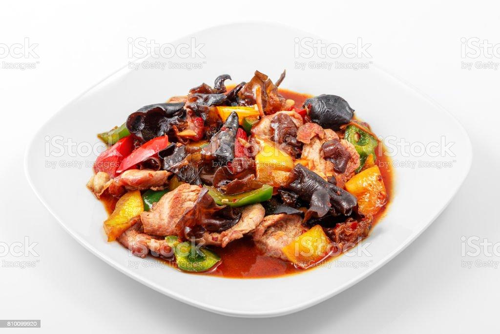 Pork, Sichuan sauce, pepper, garlic, Chinese wood mushrooms stock photo