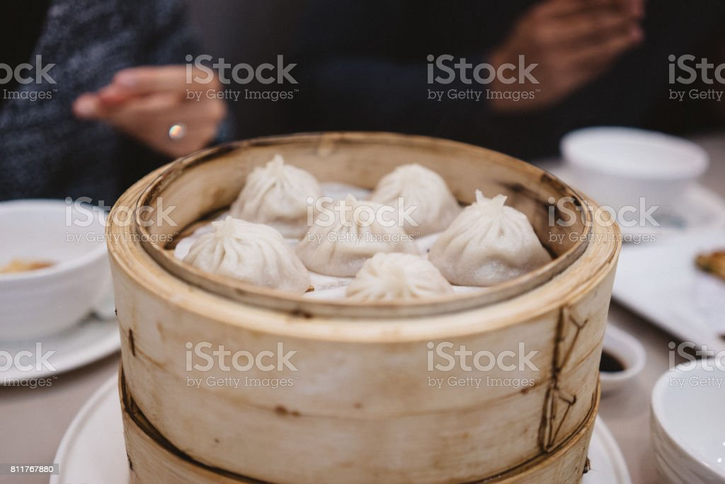 Pork soup dumplings stock photo