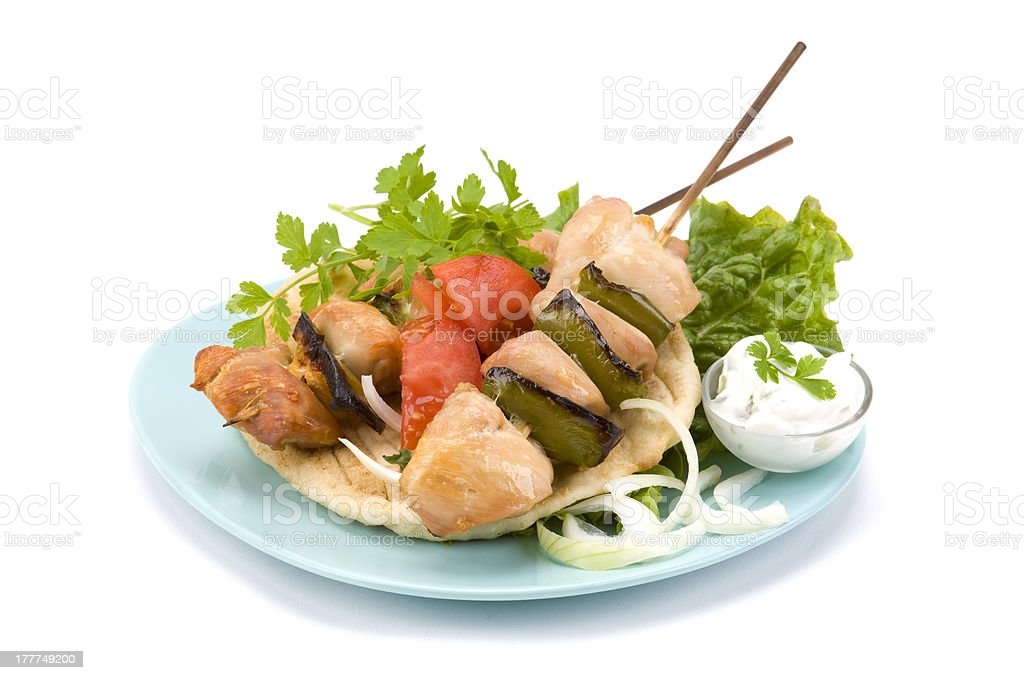 pork souvlaki and pitta royalty-free stock photo