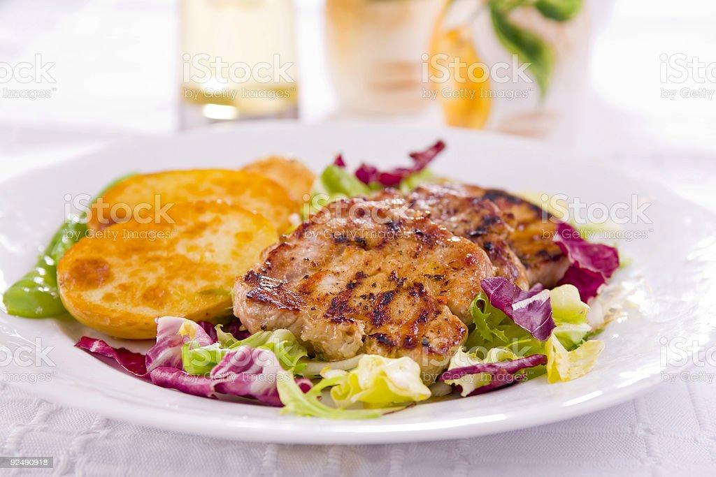 Pork steak meal royalty-free stock photo