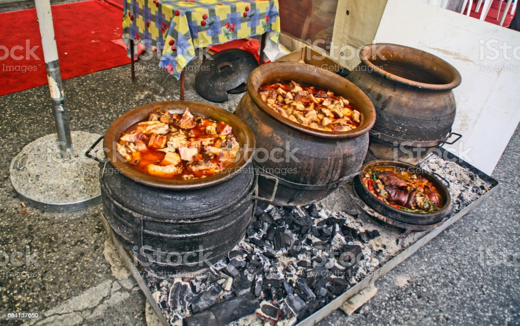 Pork stew in a clay pot zbiór zdjęć royalty-free