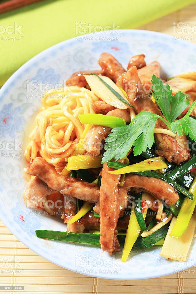 Pork stripes meat and noodles royalty-free stock photo