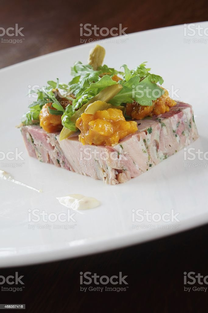 pork terrine plated appetizer royalty-free stock photo