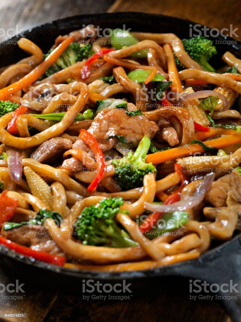 Pork, Vegetable and Noodle Stir Fry stock photo