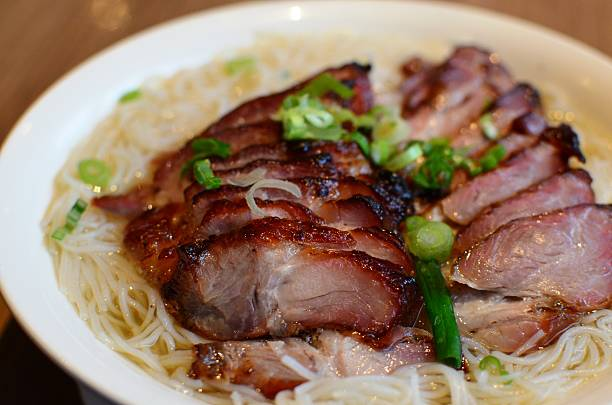 BBQ pork with rice vermicelli stock photo