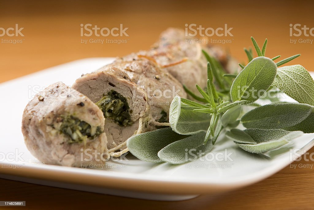 Pork with Sage and Rosemary royalty-free stock photo