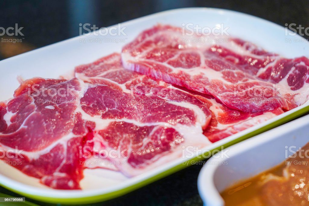 pork with sauce ready to grill royalty-free stock photo